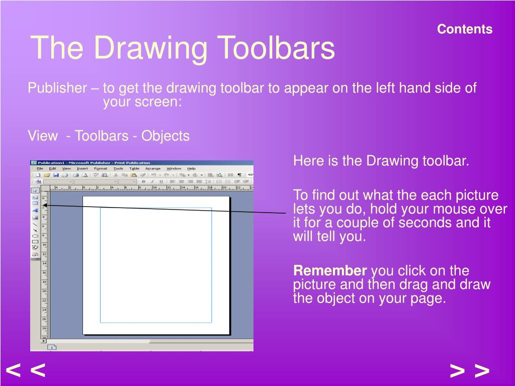 The Drawing Toolbars