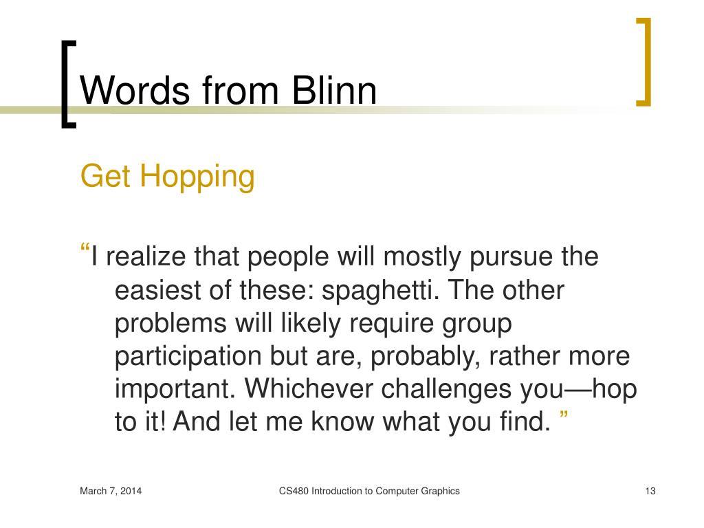 Words from Blinn