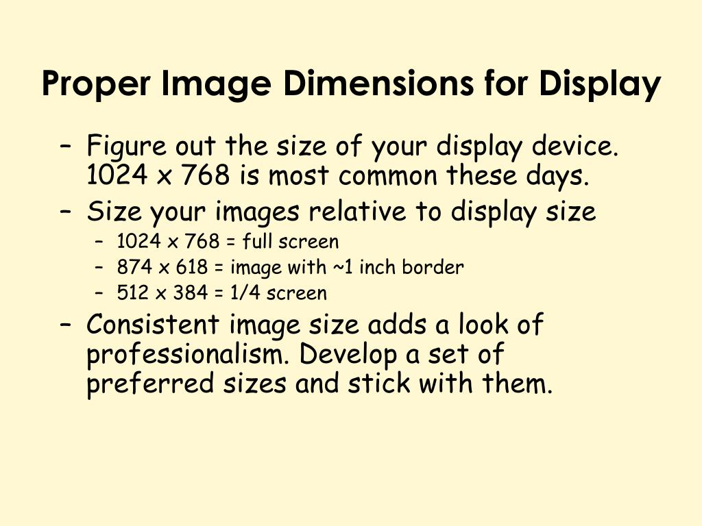 Proper Image Dimensions for Display