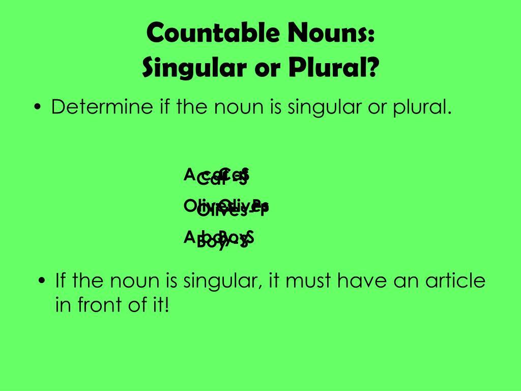 Countable Nouns: