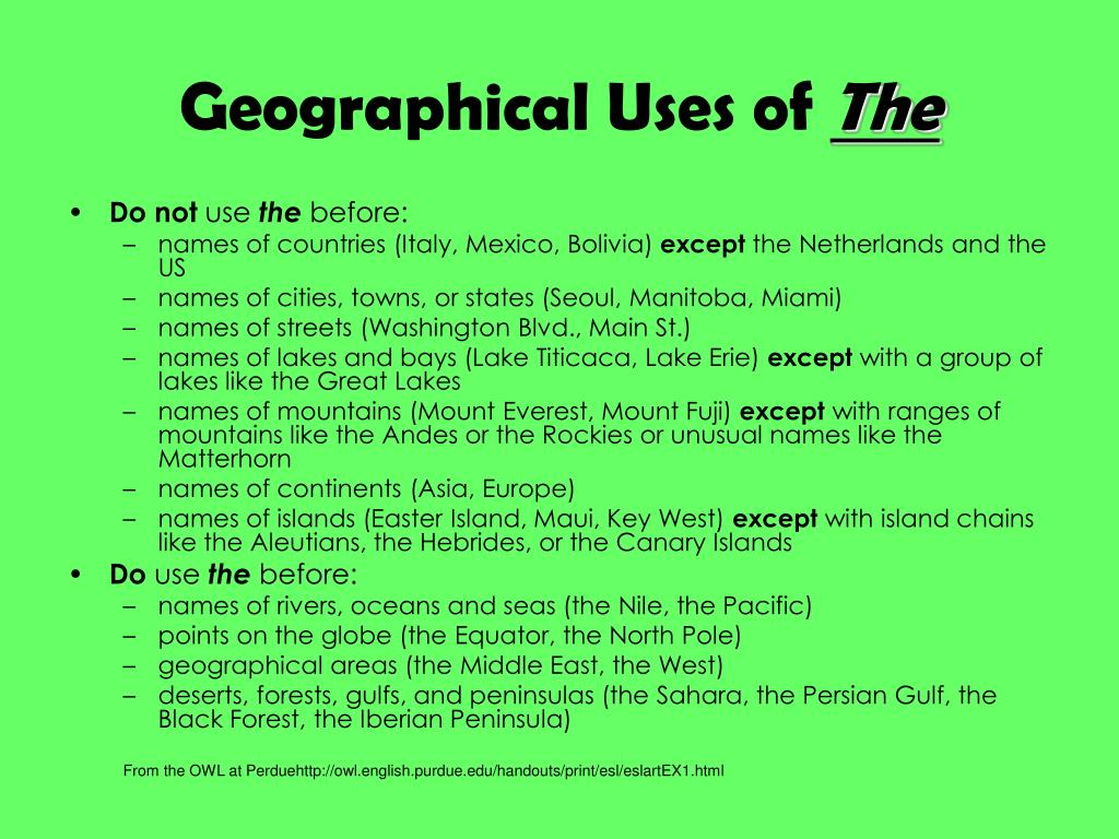 Geographical Uses of
