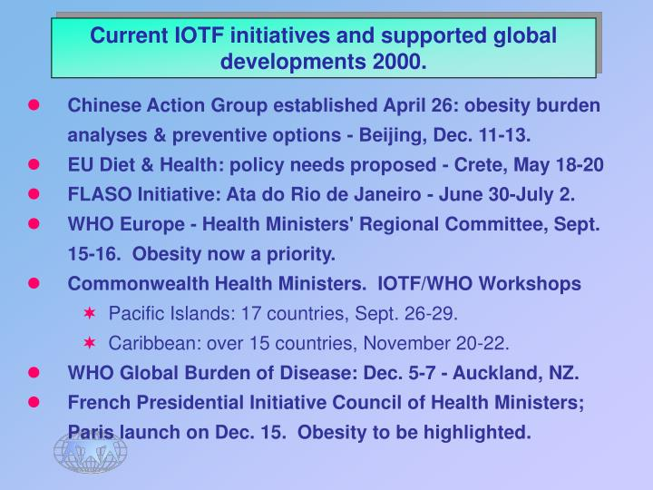 Current IOTF initiatives and supported global developments 2000.