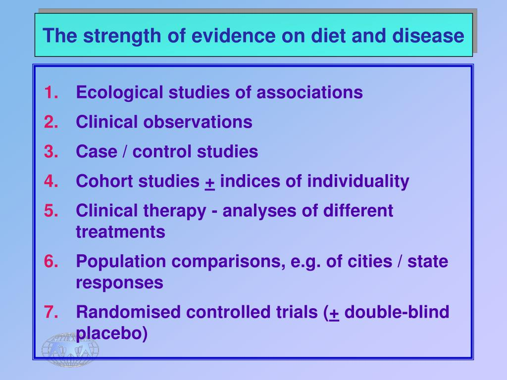 The strength of evidence on diet and disease