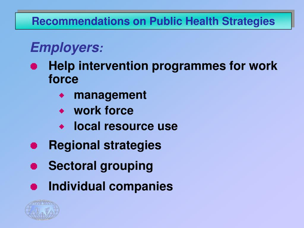 Recommendations on Public Health Strategies