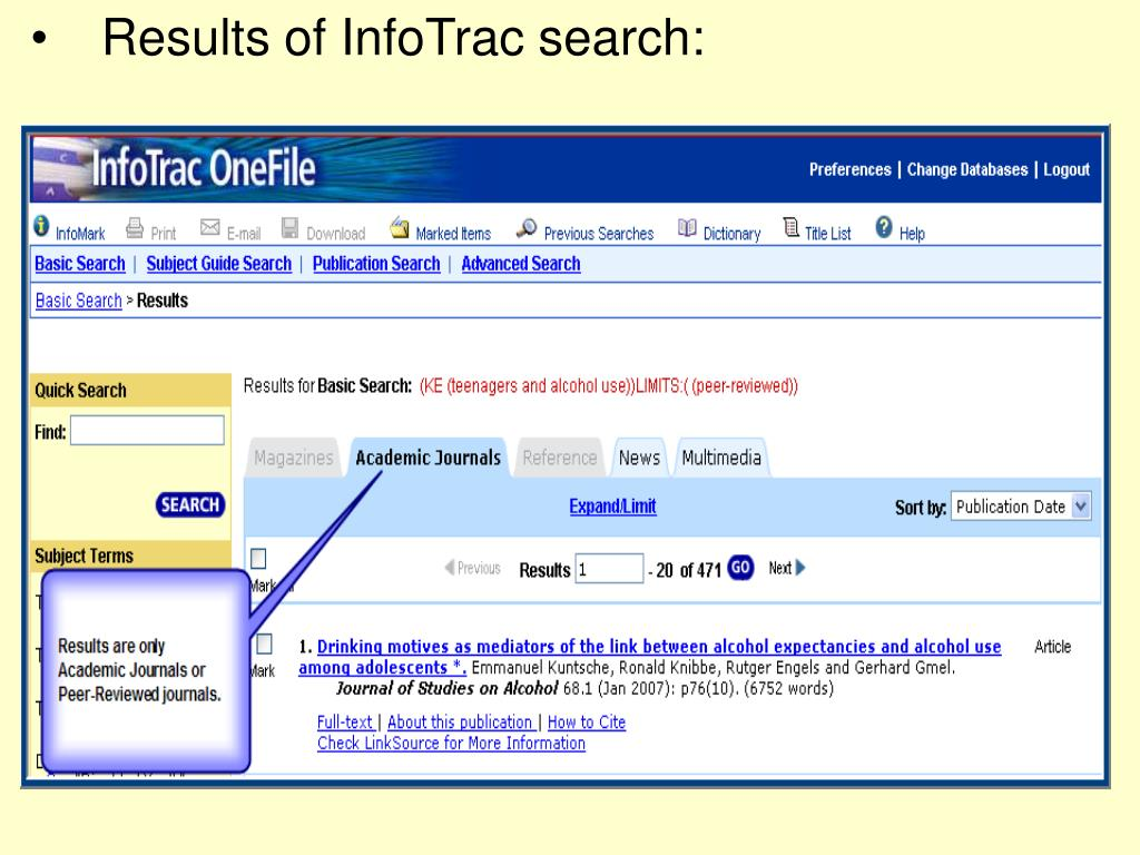 Results of InfoTrac search: