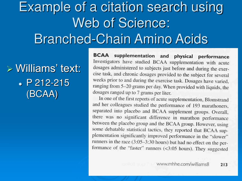 Example of a citation search using Web of Science: