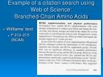 example of a citation search using web of science branched chain amino acids