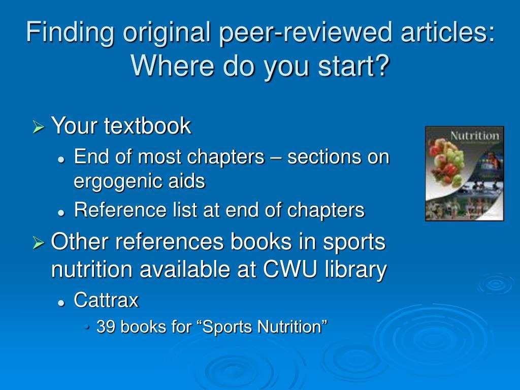 Finding original peer-reviewed articles: