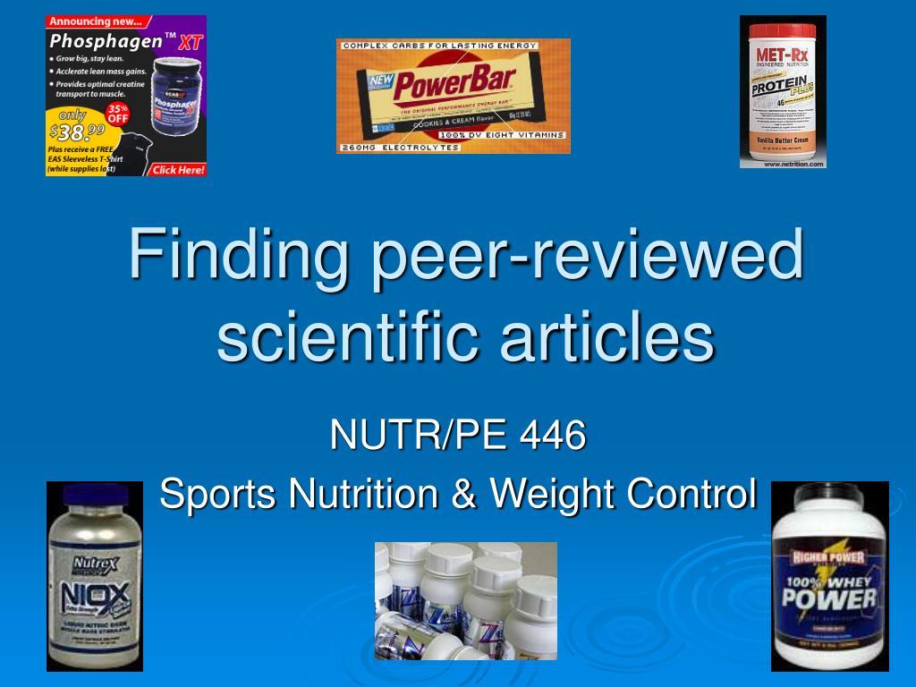 finding peer reviewed scientific articles