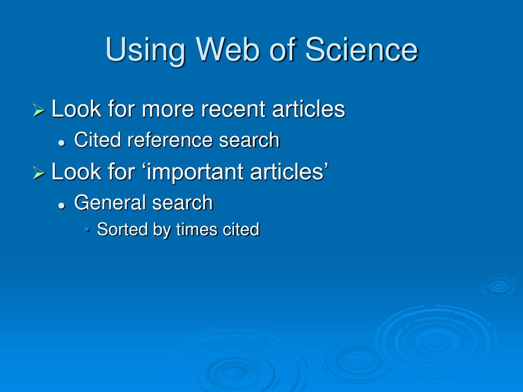 Using Web of Science