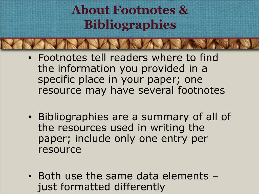 About Footnotes & Bibliographies
