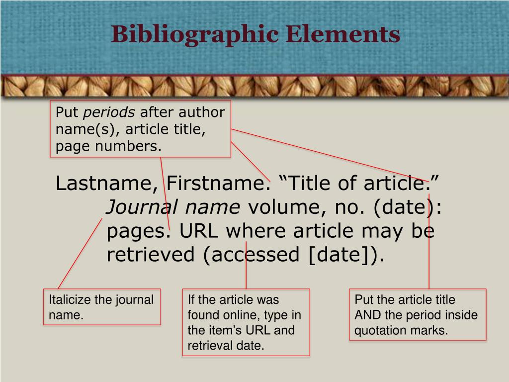 Bibliographic Elements