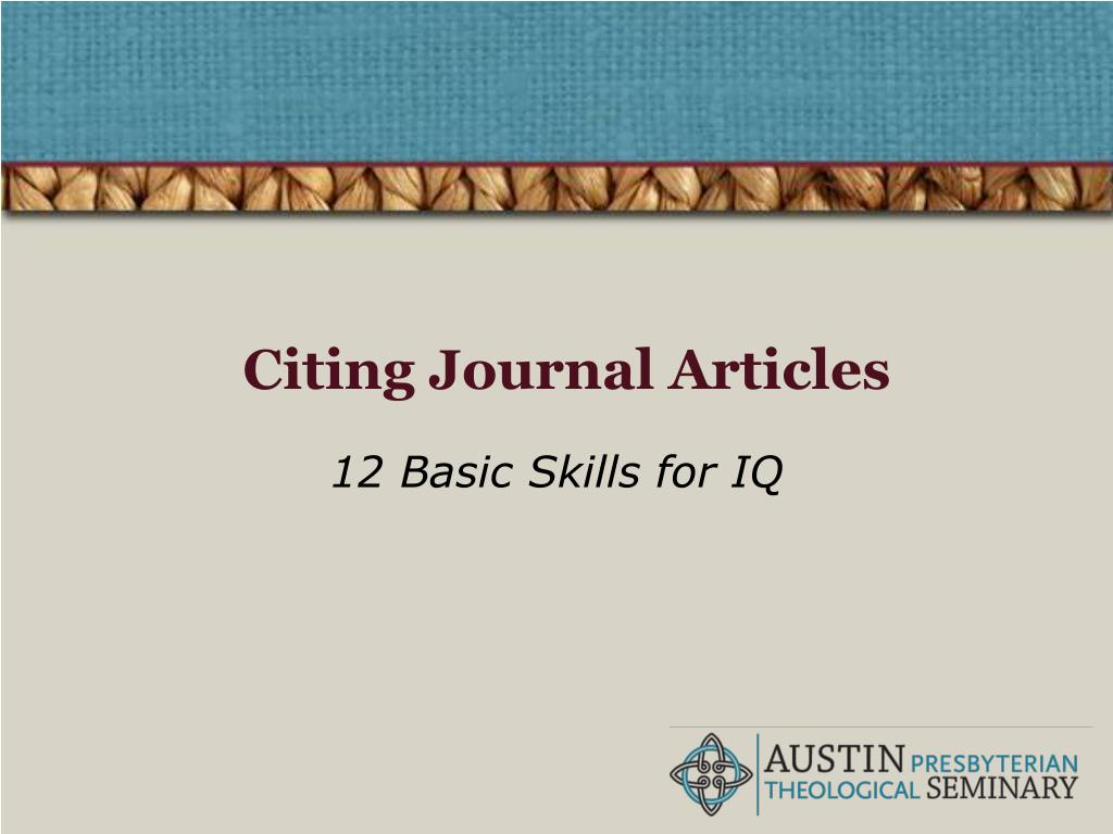Citing Journal Articles