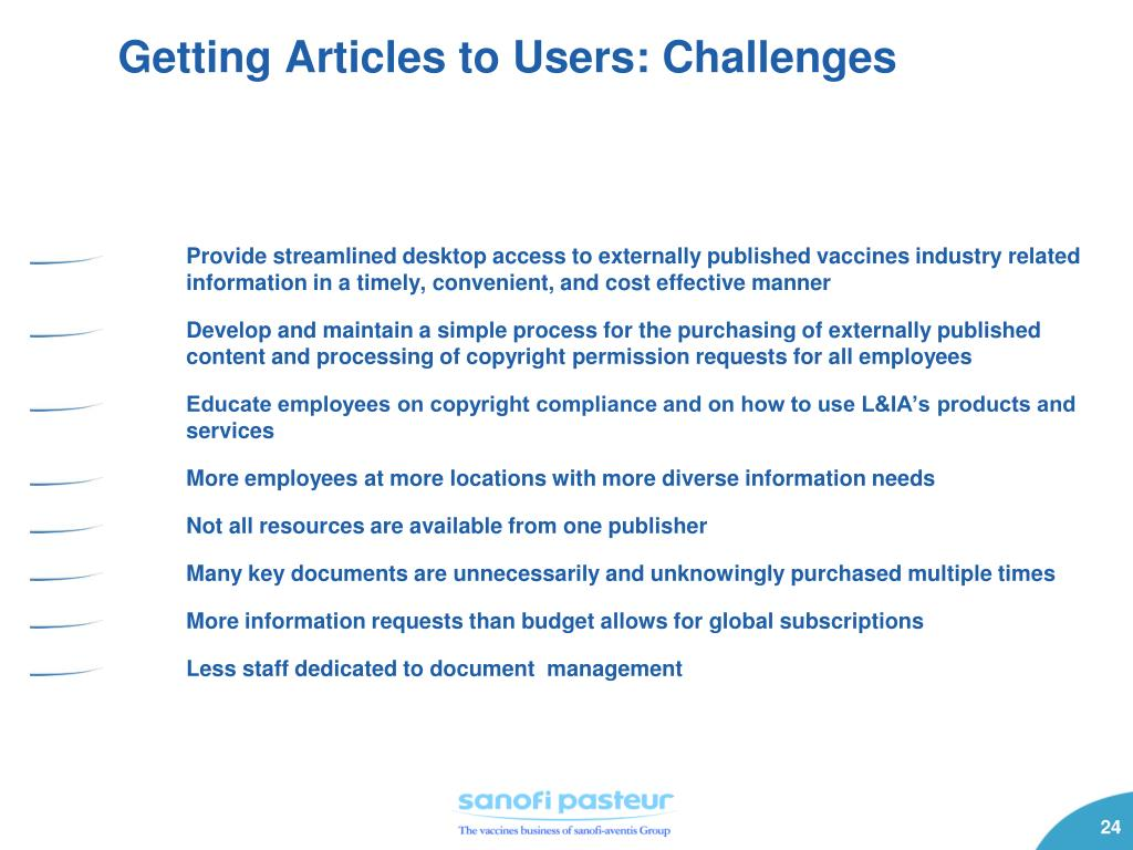 Getting Articles to Users: Challenges