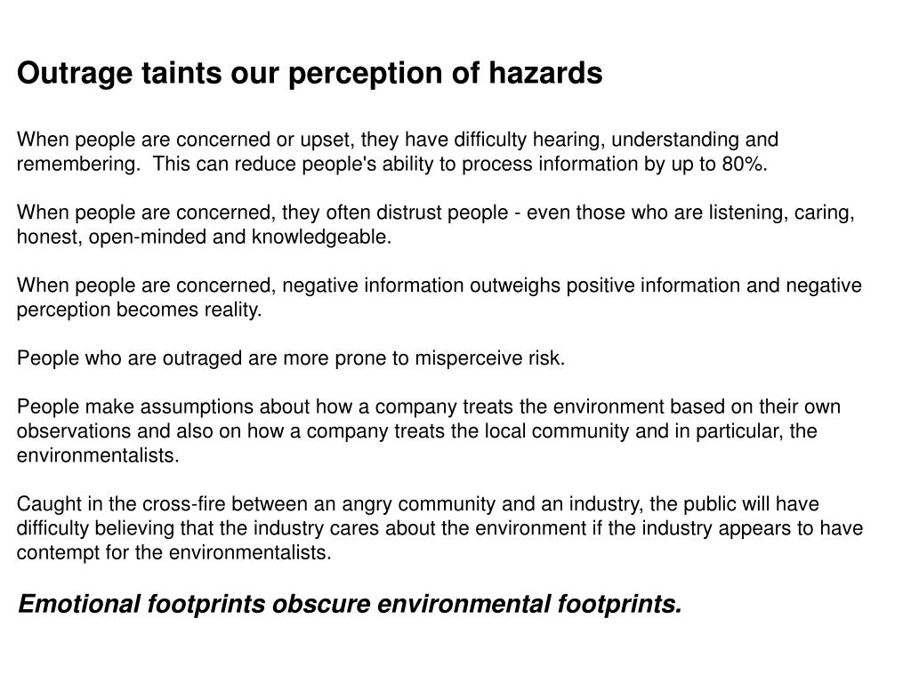 Outrage taints our perception of hazards