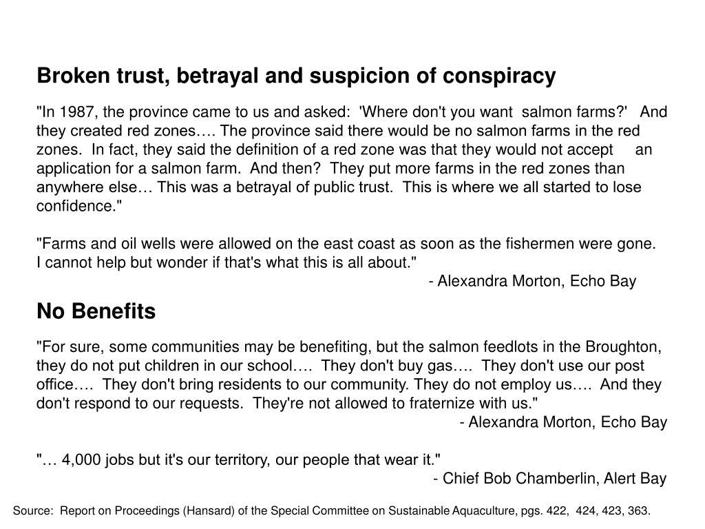 Broken trust, betrayal and suspicion of conspiracy