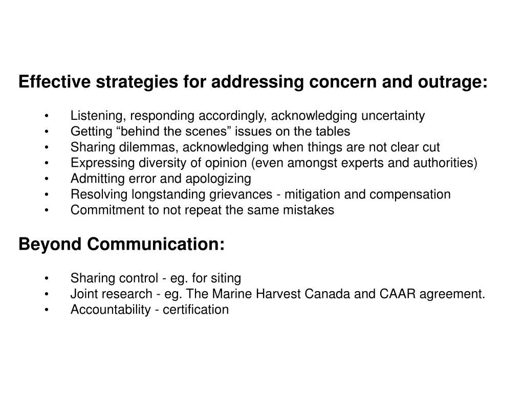 Effective strategies for addressing concern and outrage:
