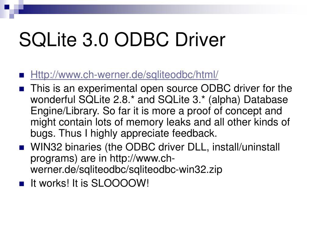 SQLite 3.0 ODBC Driver
