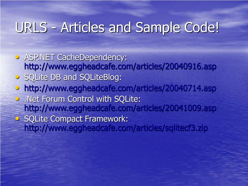 URLS - Articles and Sample Code!