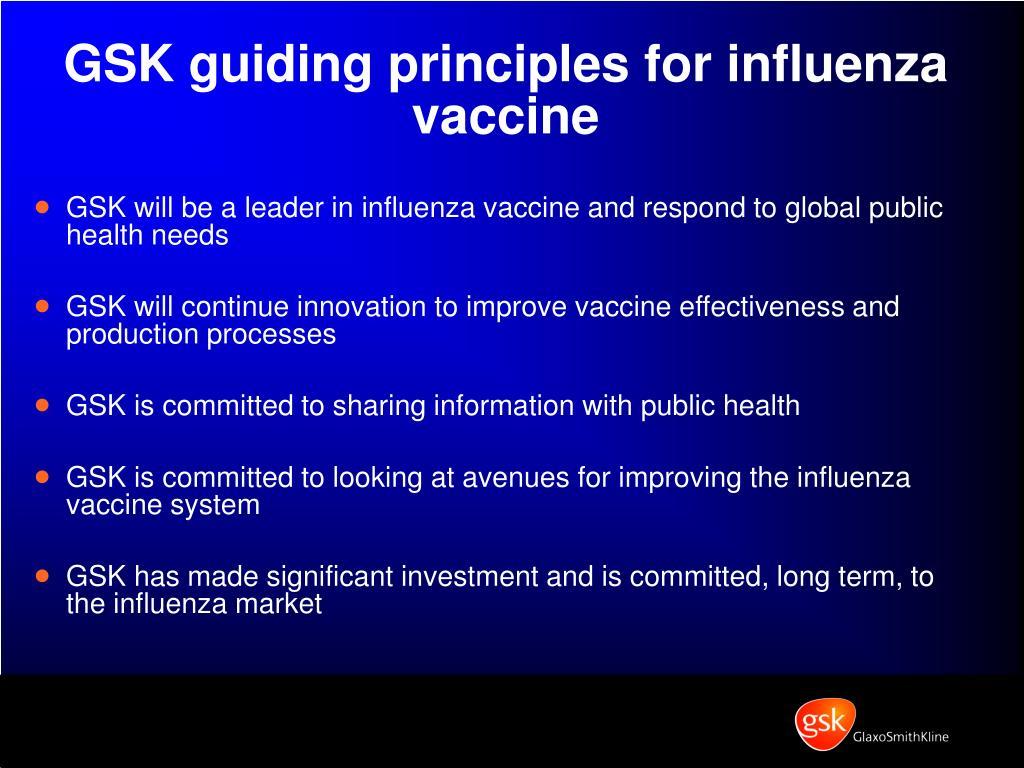 GSK guiding principles for influenza vaccine