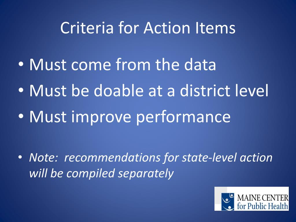 Criteria for Action Items