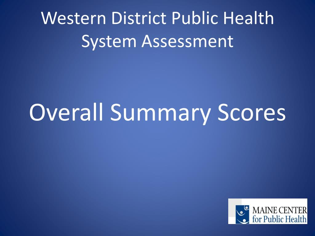 Western District Public Health System Assessment