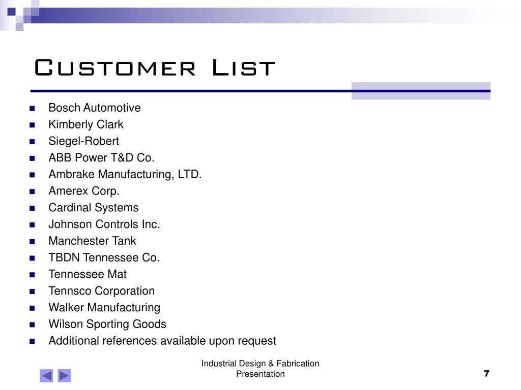 Customer List
