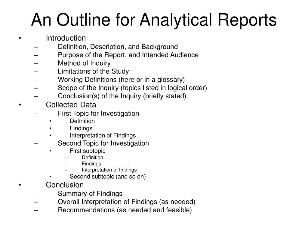 An Outline for Analytical Reports