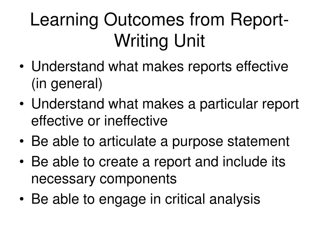 Learning Outcomes from Report-Writing Unit