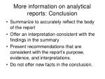more information on analytical reports conclusion