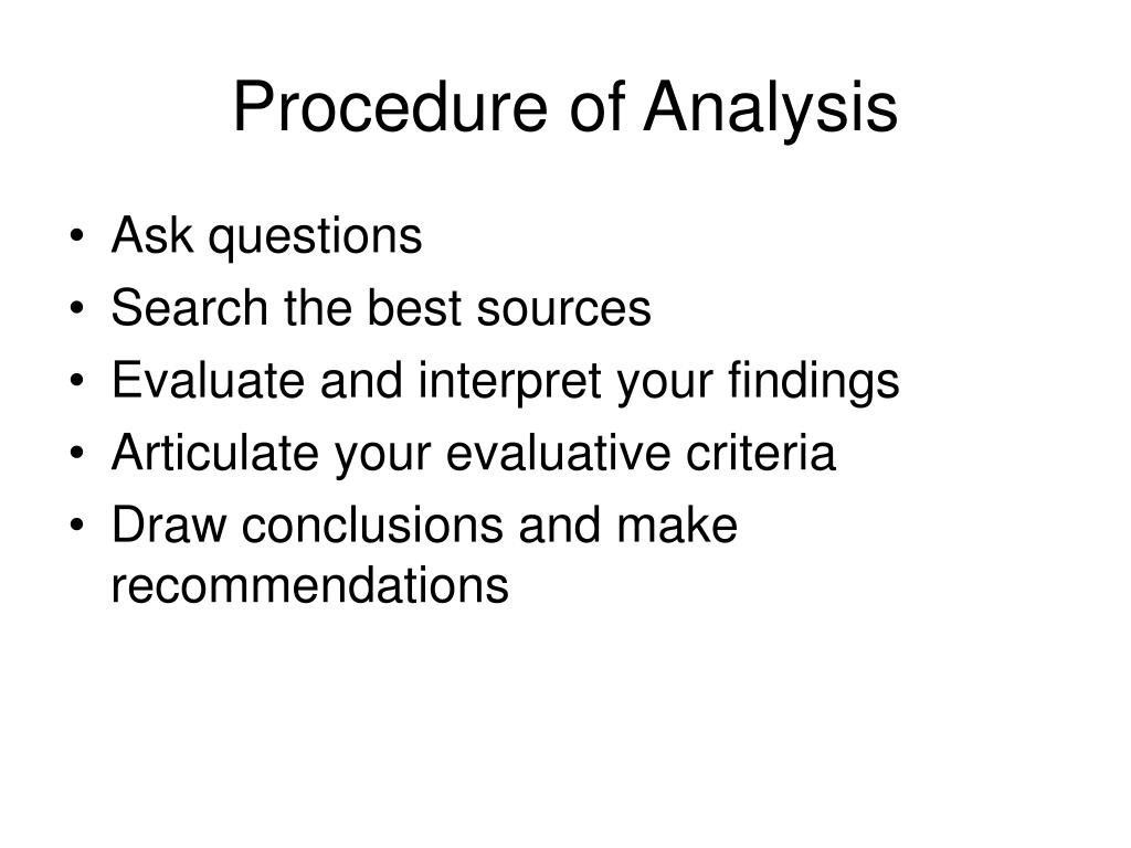 Procedure of Analysis