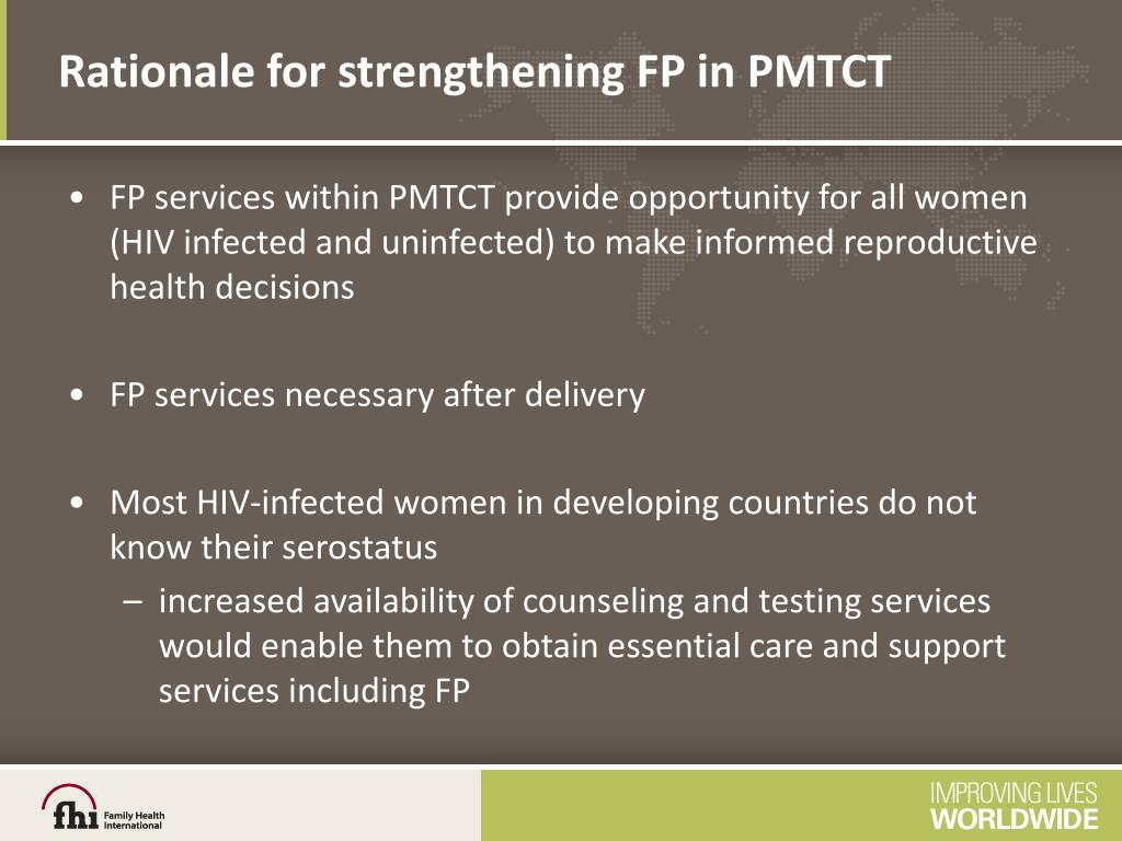 Rationale for strengthening FP in PMTCT