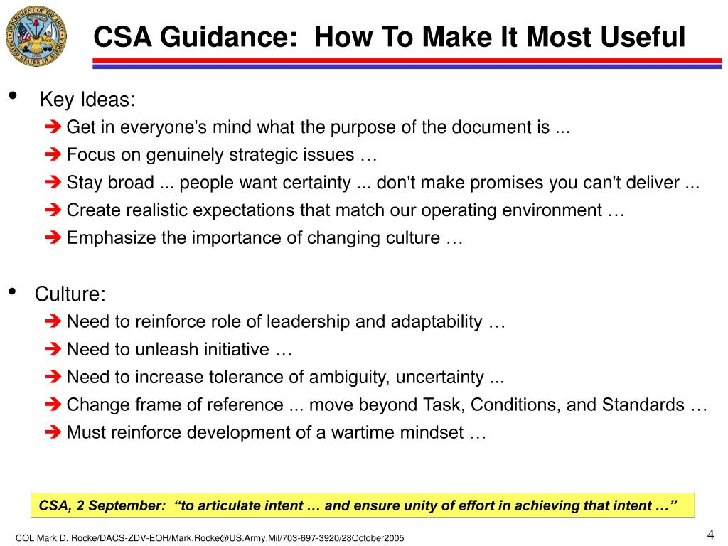 CSA Guidance:  How To Make It Most Useful