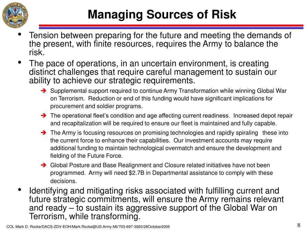 Managing Sources of Risk