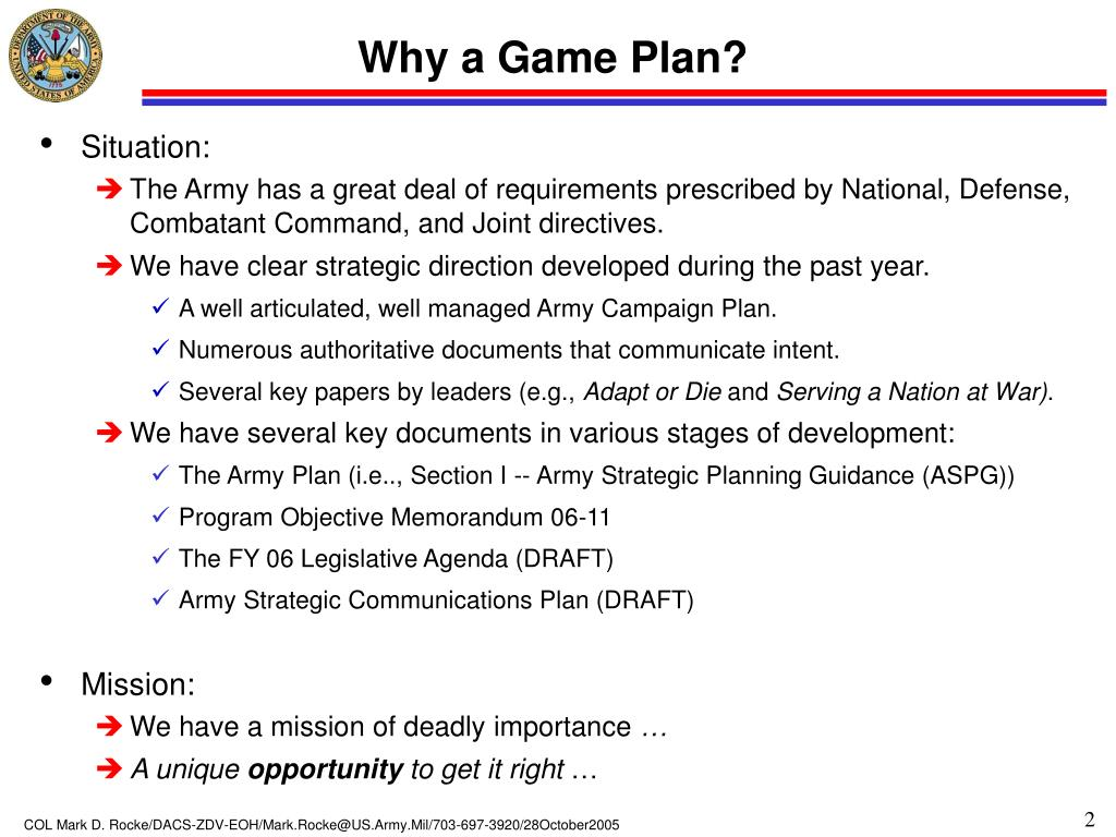 Why a Game Plan?