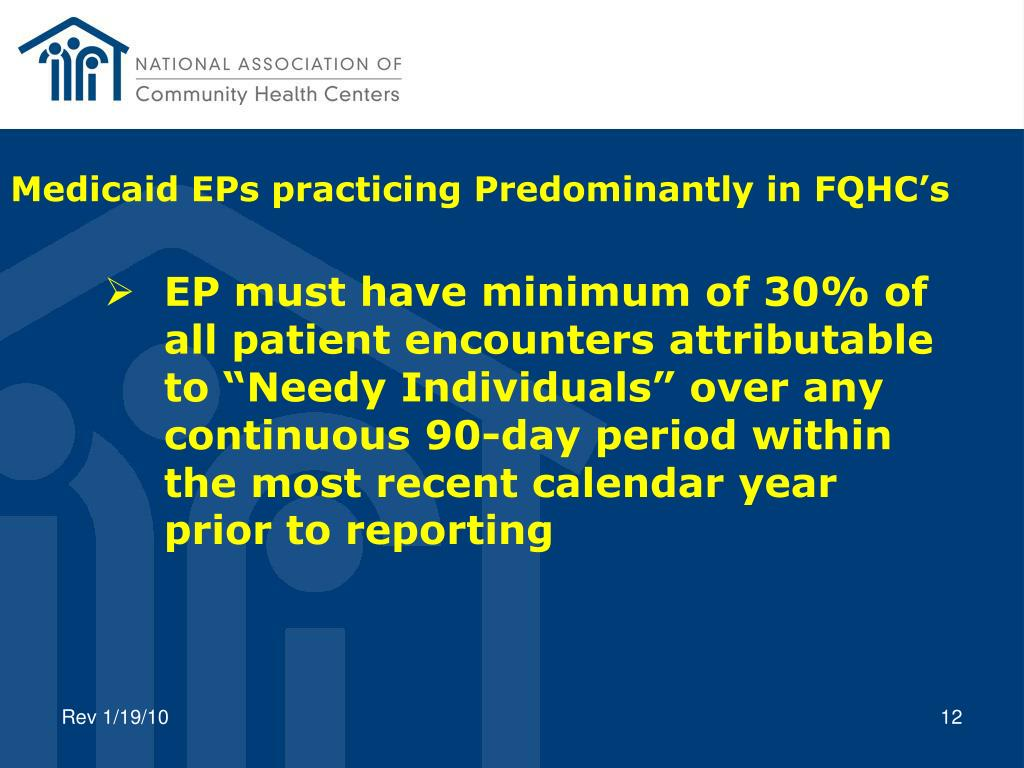 Medicaid EPs practicing Predominantly in FQHC's