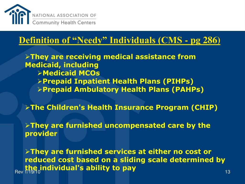 "Definition of ""Needy"" Individuals (CMS - pg 286)"