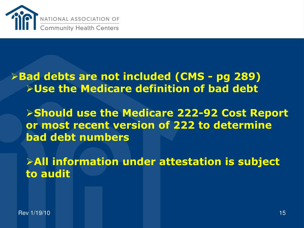 Bad debts are not included (CMS - pg 289)
