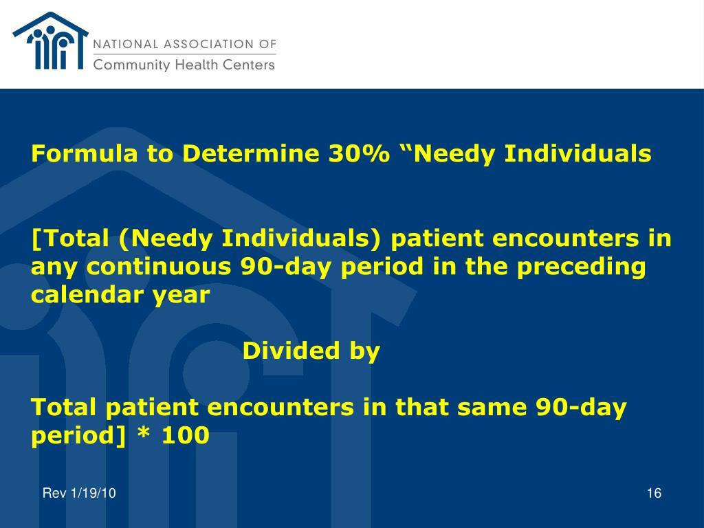 "Formula to Determine 30% ""Needy Individuals"
