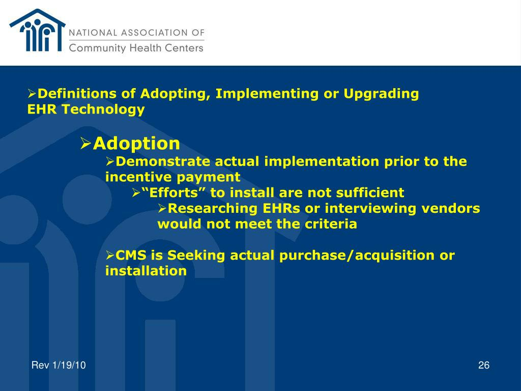 Definitions of Adopting, Implementing or Upgrading
