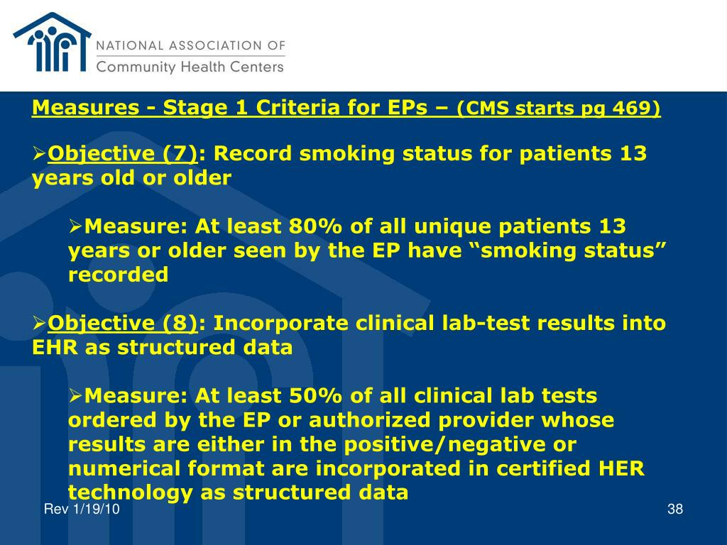 Measures - Stage 1 Criteria for EPs –