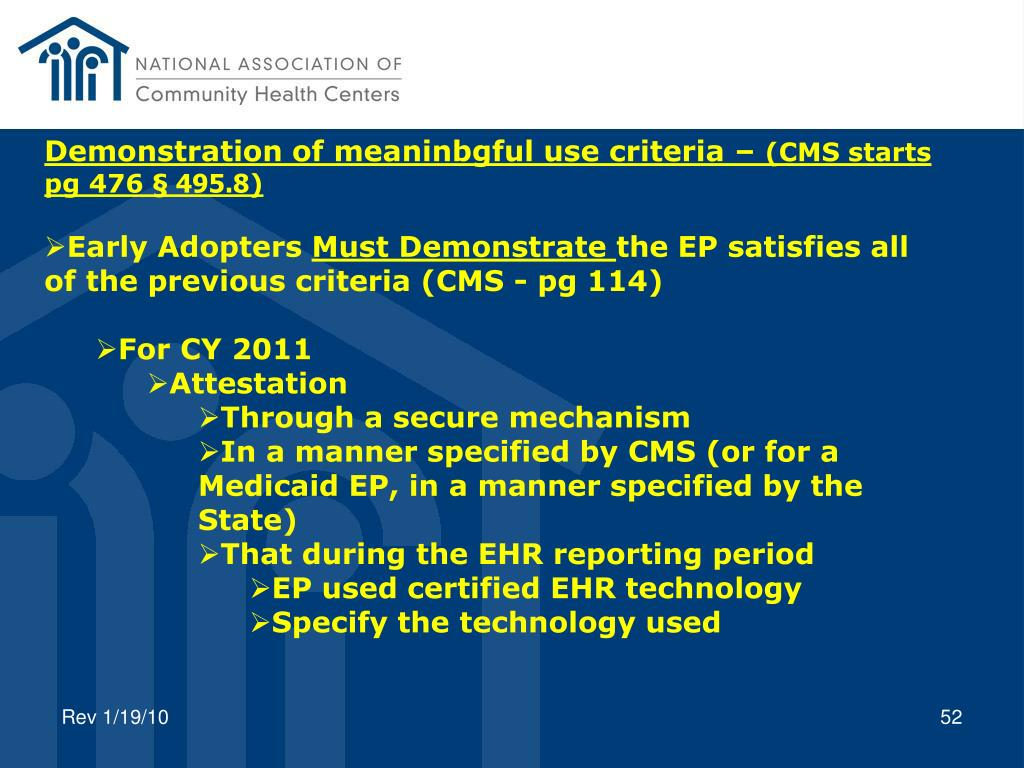 Demonstration of meaninbgful use criteria –