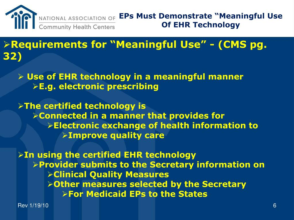 "EPs Must Demonstrate ""Meaningful Use"