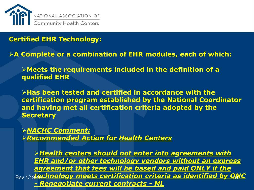 Certified EHR Technology: