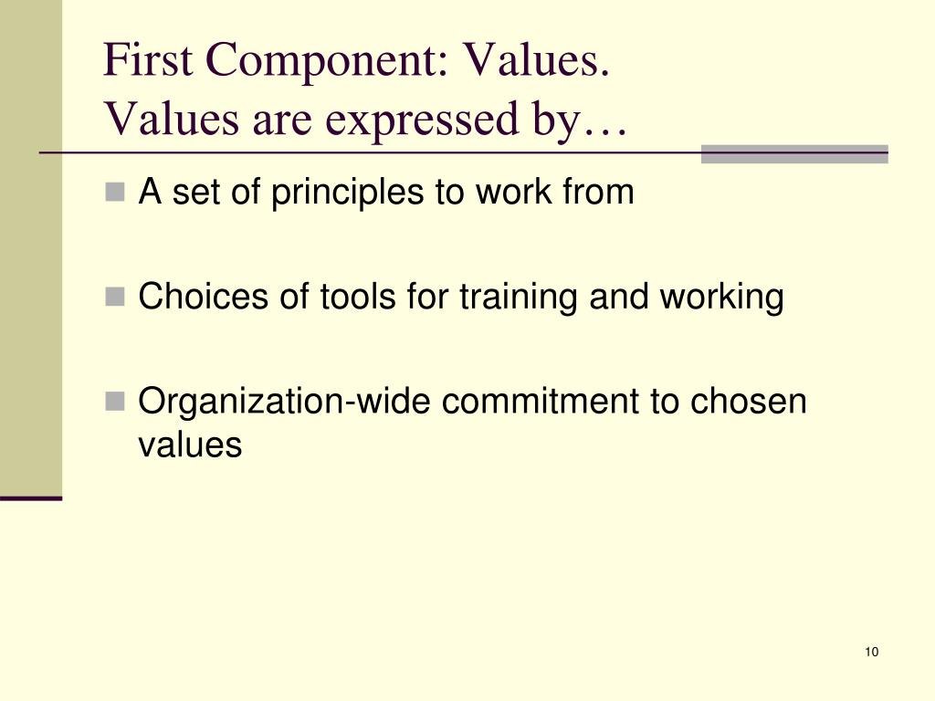 First Component: Values.