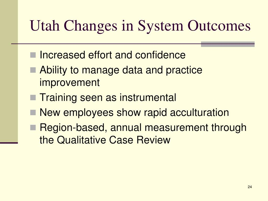 Utah Changes in System Outcomes