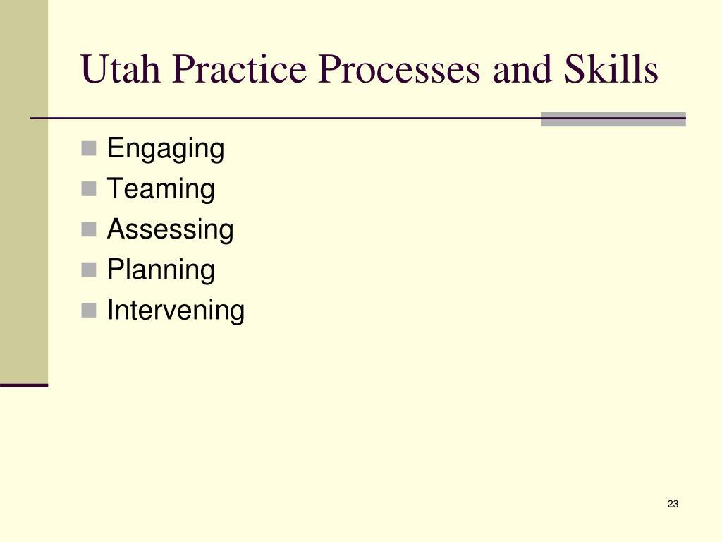Utah Practice Processes and Skills