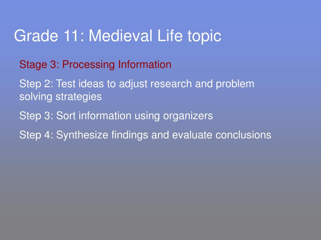 Grade 11: Medieval Life topic