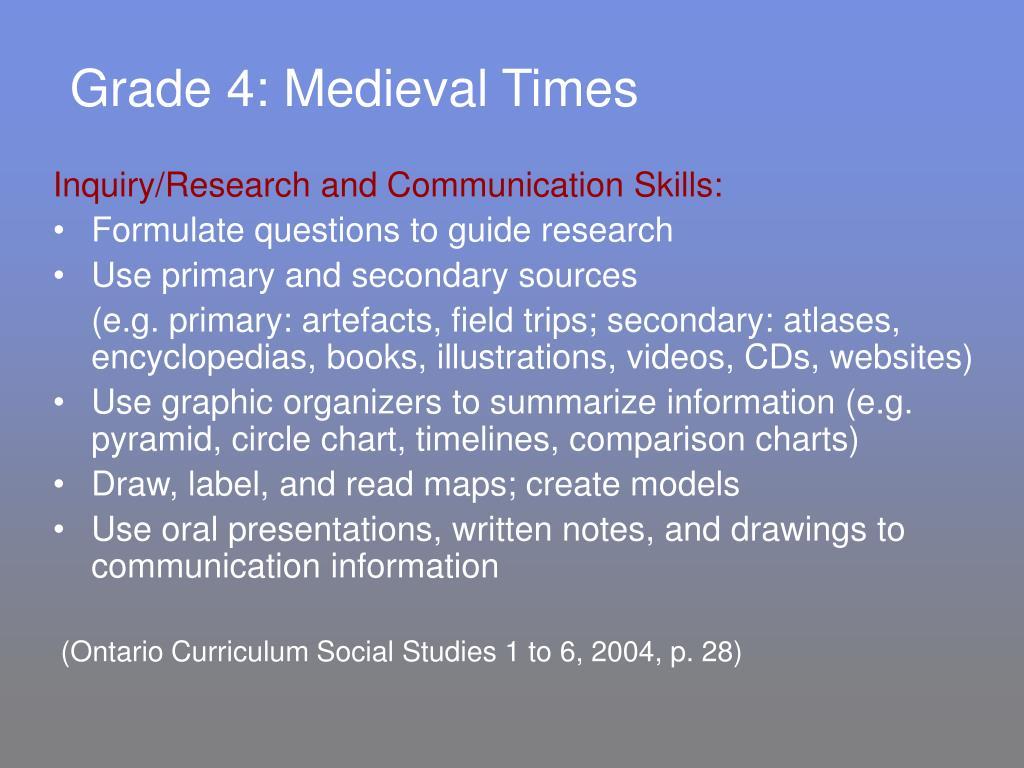 Grade 4: Medieval Times