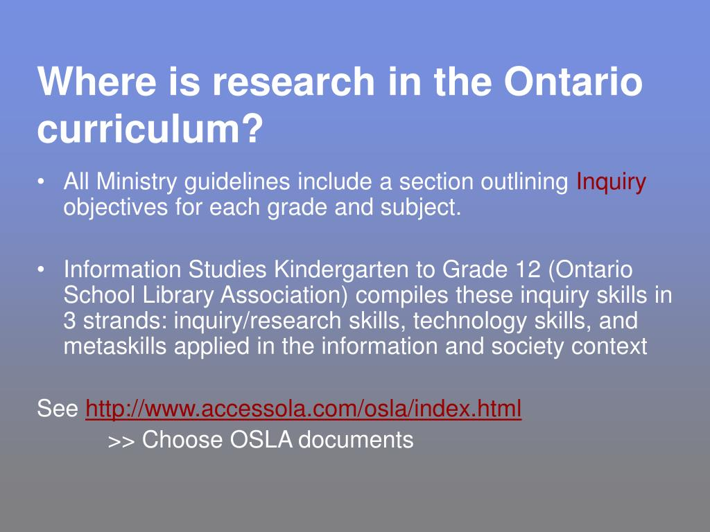 Where is research in the Ontario curriculum?